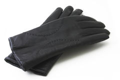 Leather black gloves. Isolated on a white background Royalty Free Stock Images