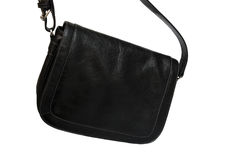 Leather black handbag Stock Photo