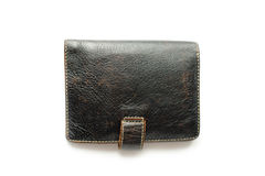 Leather black purse Stock Photos