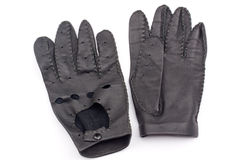 Leather black race gloves Stock Photo