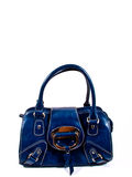 Leather blue handbag Stock Image