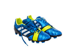 Leather blue soccer shoes Stock Photography