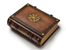 Leather book with the Vegvisir, ancient Icelandic magical symbol. The book is captured from the right side. Leather book with the Vegvisir, ancient Icelandic royalty free stock photography