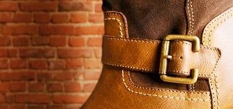 Leather boot. Stock Photo