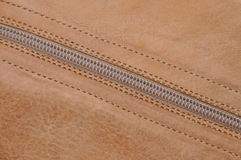 Leather boot or bag with zipper Royalty Free Stock Photo