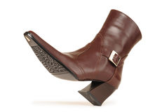 Leather boot. Isolated Royalty Free Stock Photo