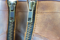 Leather boot with zipper Royalty Free Stock Image