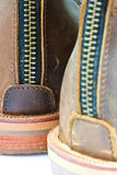 Leather boot with zipper Royalty Free Stock Images