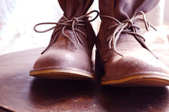 Leather Boots. Brown Shoes with Lace royalty free stock photography