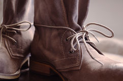 Leather Boots. Brown Shoes with Lace stock photography