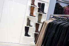 Leather boots, business shop Royalty Free Stock Photography