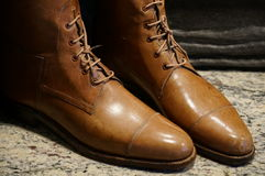 Leather boots. A picture of a pair of vintage leather boots Royalty Free Stock Images