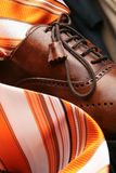 Leather boots and tie Royalty Free Stock Images