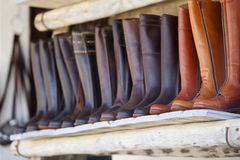 Leather boots of Valverde del Camino Stock Images