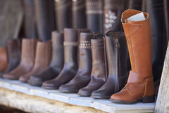 Leather boots of Valverde del Camino Royalty Free Stock Image