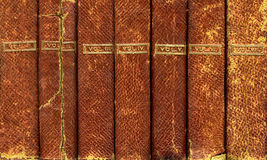 Leather bound books. Old leather bound books in six red volumes Stock Photo