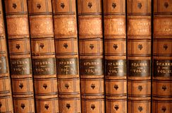 Leather Bound Books. Photo of set of 19th-century leather bound books royalty free stock photos