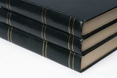 Leather bound hard cover books royalty free stock photography