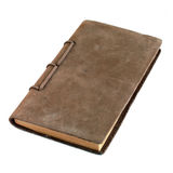 Leather Bound Journal. A well used leather bound journal on white background Stock Image