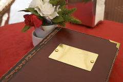Leather bound menu Stock Photo