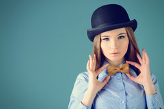 Leather bow-tie Stock Photography