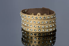 Leather bracelet with crystals Stock Image