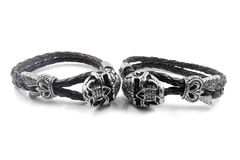 Leather bracelet with the devil skull Royalty Free Stock Image