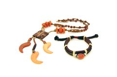 Leather bracelet and necklace Stock Photos