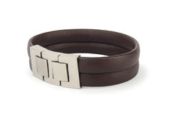 Leather bracelet on white Stock Photography