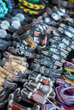 Leather bracelets, beads, accessories and souvenirs Royalty Free Stock Photography