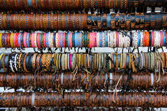 Leather Bracelets. Colorful leather bracelets on sale in a shop royalty free stock photos