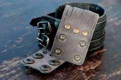 Leather Bracelets. With metal Clasps stock photo