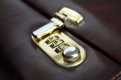 Leather Brief Case Locked Royalty Free Stock Images