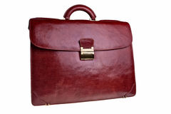 Leather briefcase. Leather briefcase front view isolated over white background Royalty Free Stock Photos