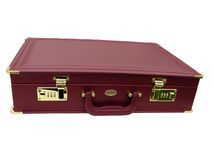 Leather briefcase. Modern attache or leather briefcase showing locks royalty free stock images