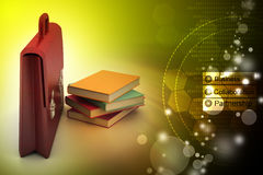 Leather briefcase and books Stock Photography
