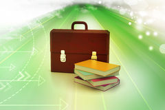 Leather briefcase and books Royalty Free Stock Image