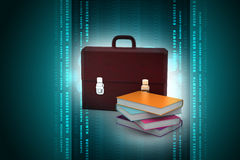 Leather briefcase and books Royalty Free Stock Photos