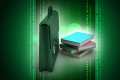 Leather briefcase and books Royalty Free Stock Images