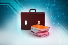 Leather briefcase and books Stock Photos