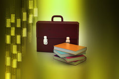 Leather briefcase and books Stock Photo