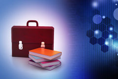 Leather briefcase and books. In color background Stock Photography