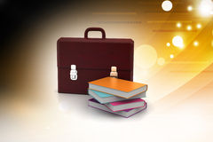 Leather briefcase and books Royalty Free Stock Photography