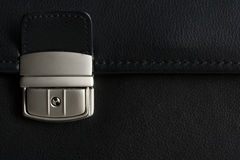 Leather briefcase buckle in detail Royalty Free Stock Photo