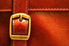 Leather briefcase buckle (selective focus) Stock Photos