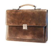 Leather briefcase of a businessman. Brown elegant leather briefcase of a businessman stock image