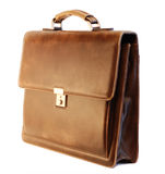 Leather briefcase of a businessman. Brown elegant leather briefcase of a businessman Stock Photos