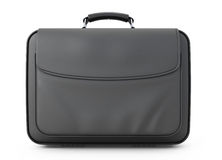 Leather briefcase for documents front view Stock Photos