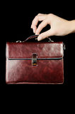 Leather Briefcase In Female Hand Stock Photography