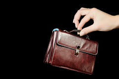 Leather Briefcase In Female Hand Stock Images